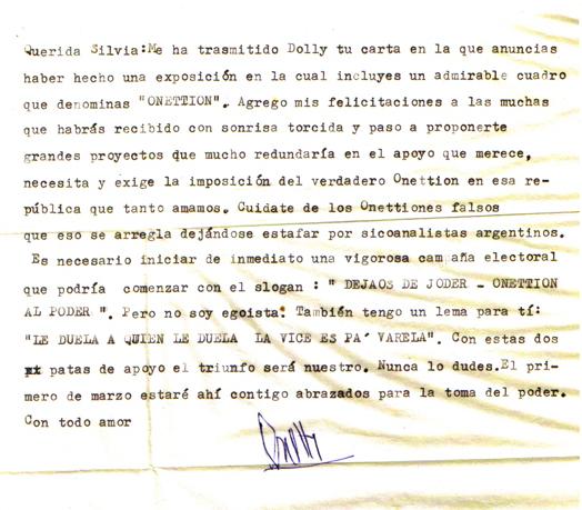 Lettera di Onetti a Silvia Valera